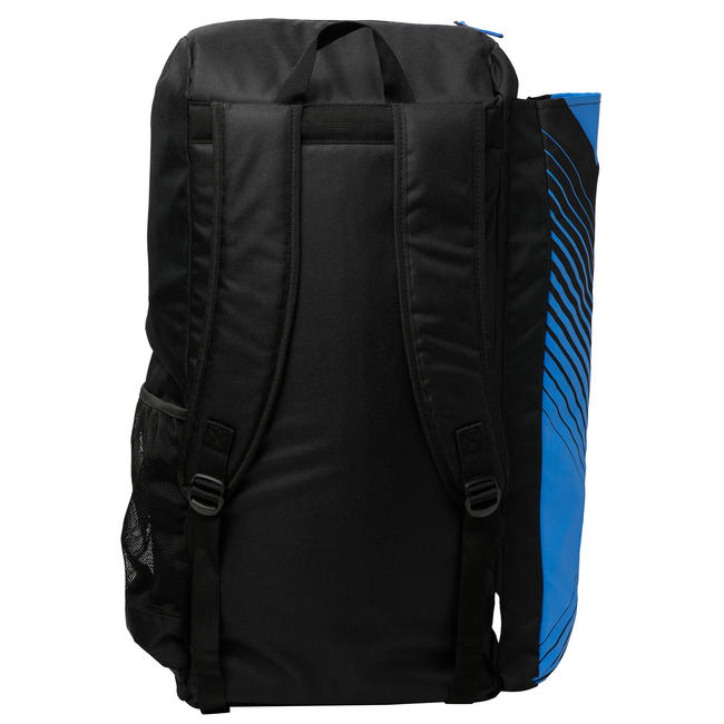 Junior cricket bag for equipment (with bat pouch), black/blue