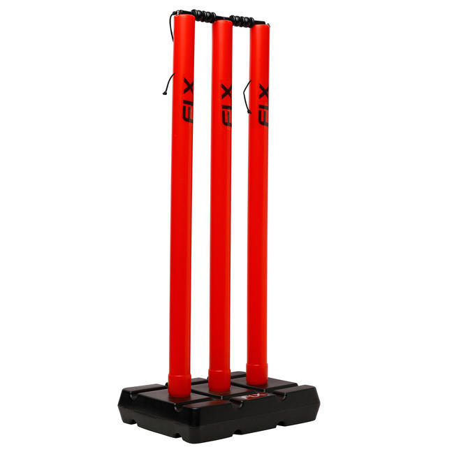 CRICKET WICKET AND STUMP SET, PLASTIC, RED