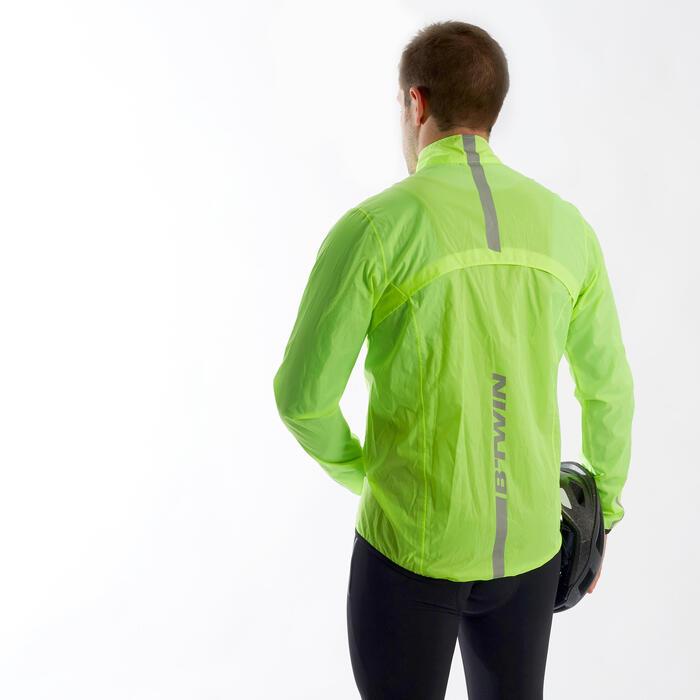 Wielren regenjas RC100 voor heren fluogeel
