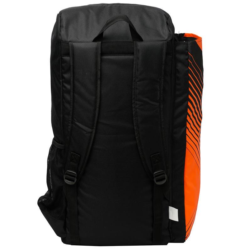 JUNIOR CRICKET BAG FOR EQUIPMENT (WITH BAT POUCH), BLACK/ORANGE