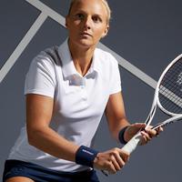 חולצת פולו Essential לנשים למשחקי טניס, בדמינטון, פאדל, טניס שולחן וסקווש - לבן