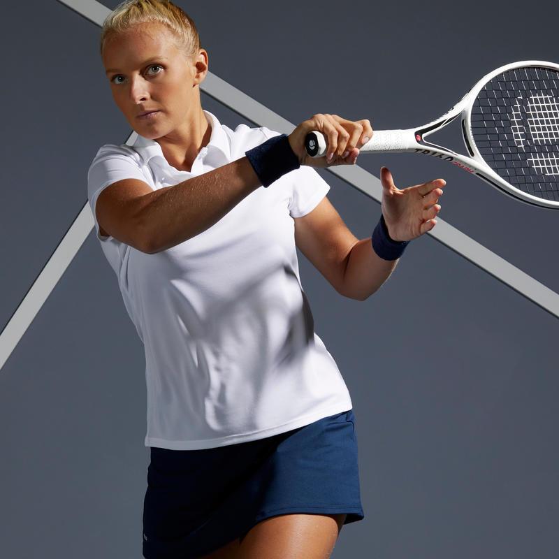 เสื้อโปโลผู้หญิงสำหรับใส่เล่นเทนนิสรุ่น Dry 100 (สีขาว)