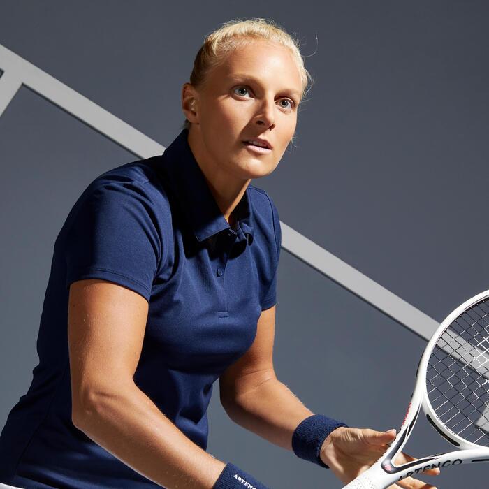 Poloshirt Essential 100 Tennispolo Damen marineblau