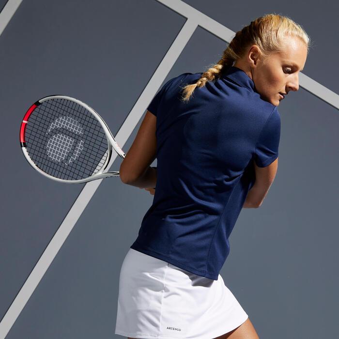 女款網球Polo衫Essential 100-軍藍色