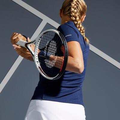 Camiseta tipo Polo de Tenis Dry 100 Mujer Oscuro