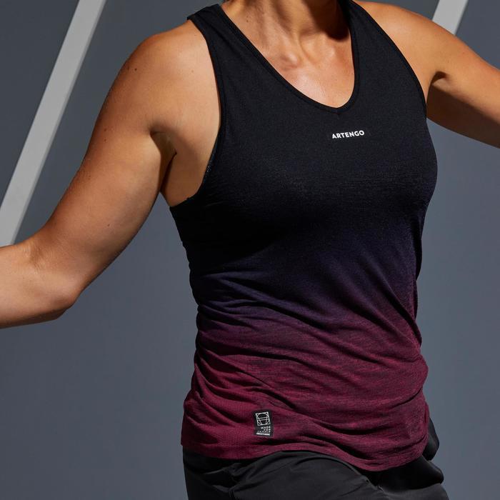 女款網球背心TK Light 990-黑色/紫色