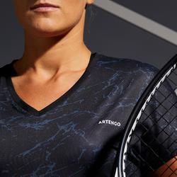 女款網球短袖T恤TS Soft 500-黑色