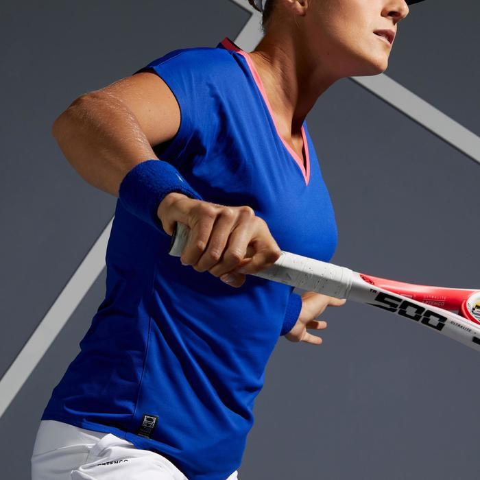 女款網球T恤Soft 500-藍色