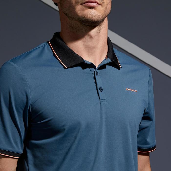 Poloshirt Dry 500 Tennispolo Herren grau/korallenrot
