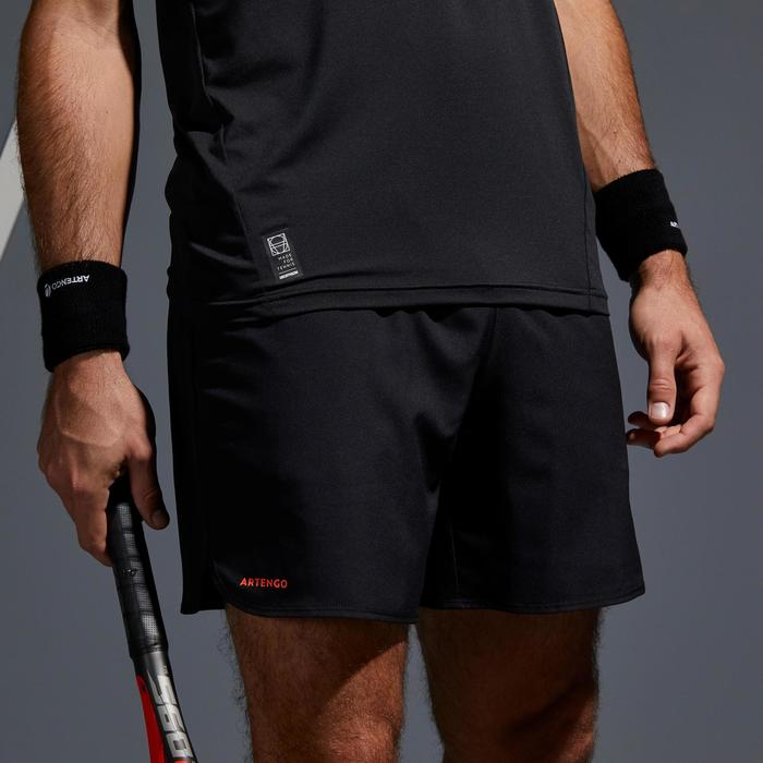 SHORT DE TENNIS HOMME DRY 500 COURT NOIR ORANGE
