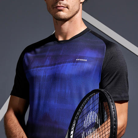 Men's Tennis T-Shirt TTS 500 Dry - Black/Blue