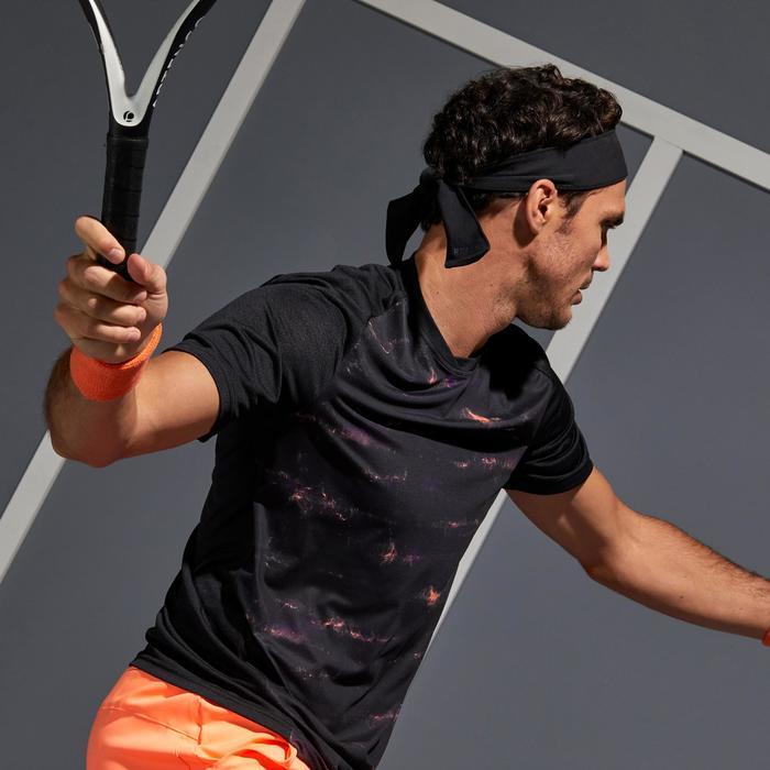 T-Shirt Dry 500 Tennisshirt Herren schwarz/koralle