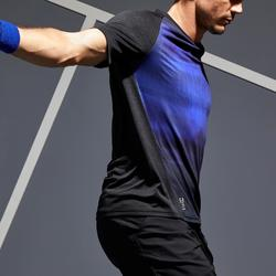 Tennisshirt heren Dry 500 zwart blauw