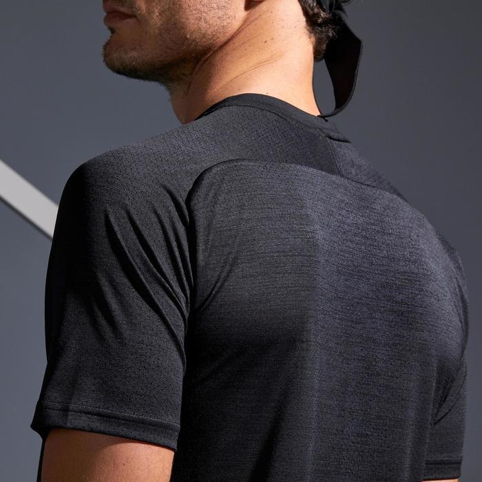T-shirt voor tennis heren Dry 500 zwart/koraalrood