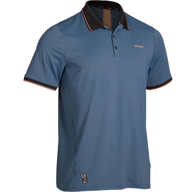 MEN WARM CONDITION RACKET SP APAREL Squash - Dry 500 Polo Shirt - Coral ARTENGO - Squash Clothing