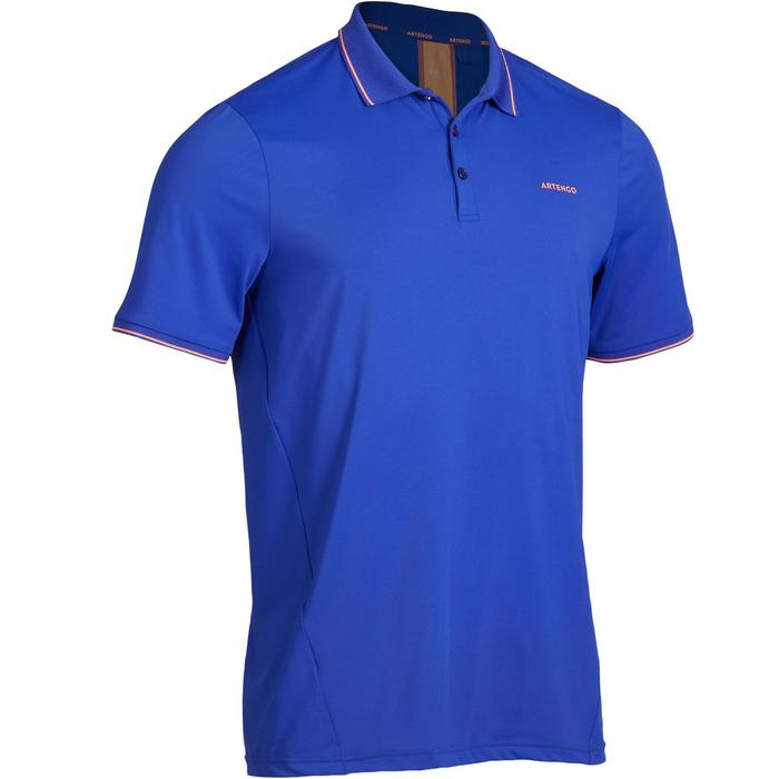 Poloshirt Dry 500 Tennispolo Herren blau/korallenrot