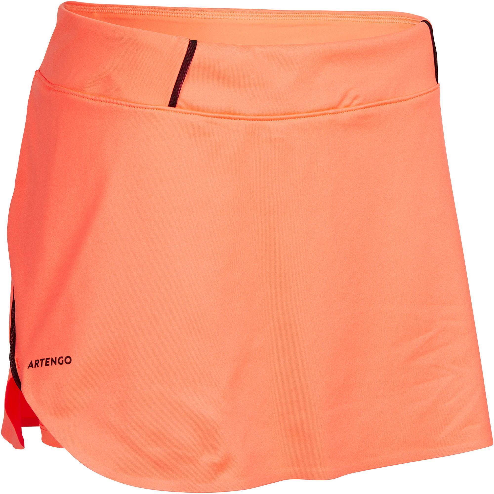Tennisrock SK Light 990 Damen orange | Sportbekleidung > Sportröcke | Orange - Rosa - Schwarz | Artengo