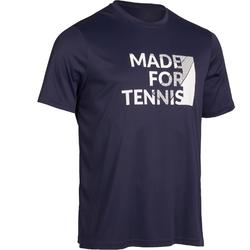 T-shirt voor tennis heren Soft 100 marineblauw