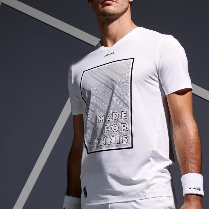 輕量網球T恤900-白色/黃色