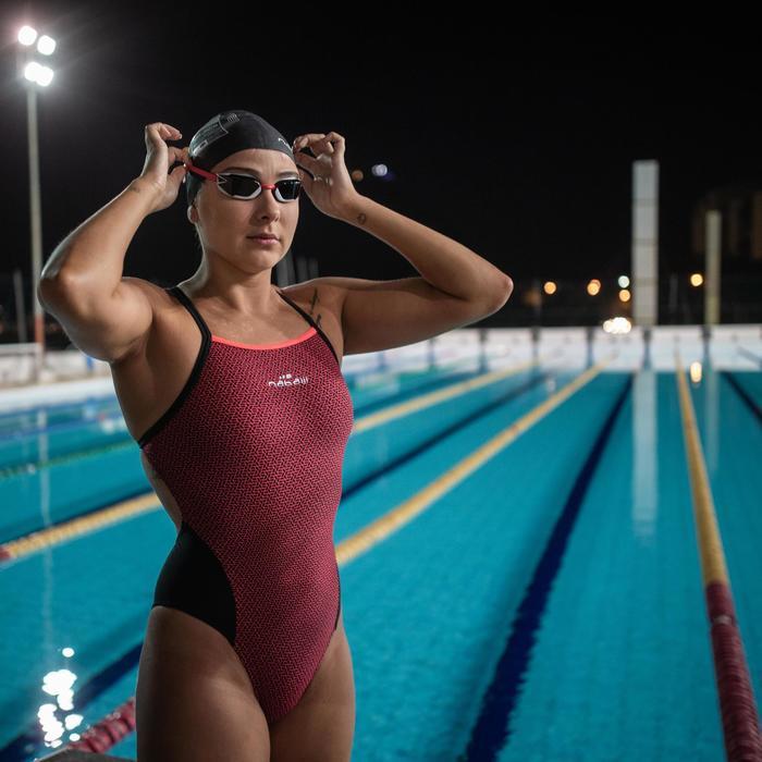 Bañador Natación Piscina Nabaiji Lexa Mujer Forma Espalda X Estampado Rosa Negro