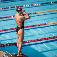 Black and white women's Lexa XP one-piece swimsuit