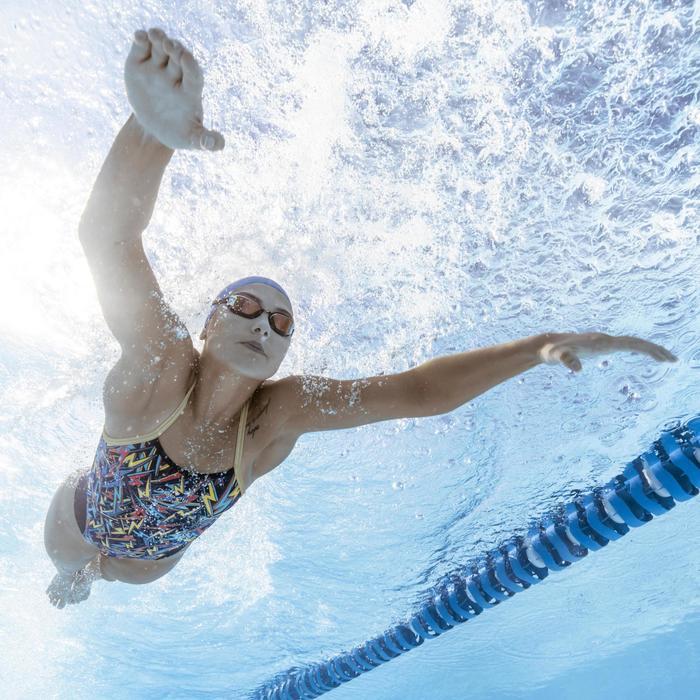 6e730056403 Bañador Natación Piscina Nabaiji Lexa Mujer Forma Espalda X Estampado Rayos  Azul