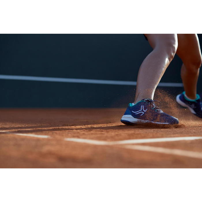 Tennisschoenen voor dames TS590 gravel blauw