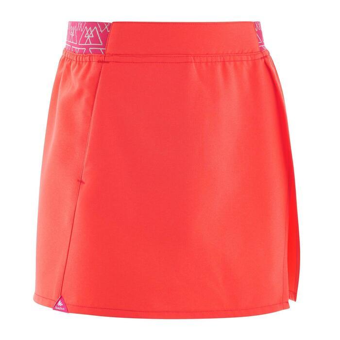 兒童款健行短褲裙MH100(7 到15歲)-灰色/珊瑚紅
