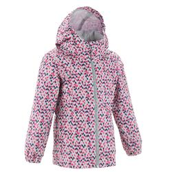 MH500 Children's Waterproof Hiking Jacket - Pink and grey