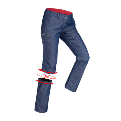 Women's travel trekking zip-Off trousers - TRAVEL 100 - blue denim