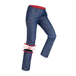 Pantalon modulable randonnée VOYAGE 100 femme bleu denim