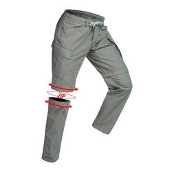 Pantalon modulable trekking TRAVEL100 homme kaki