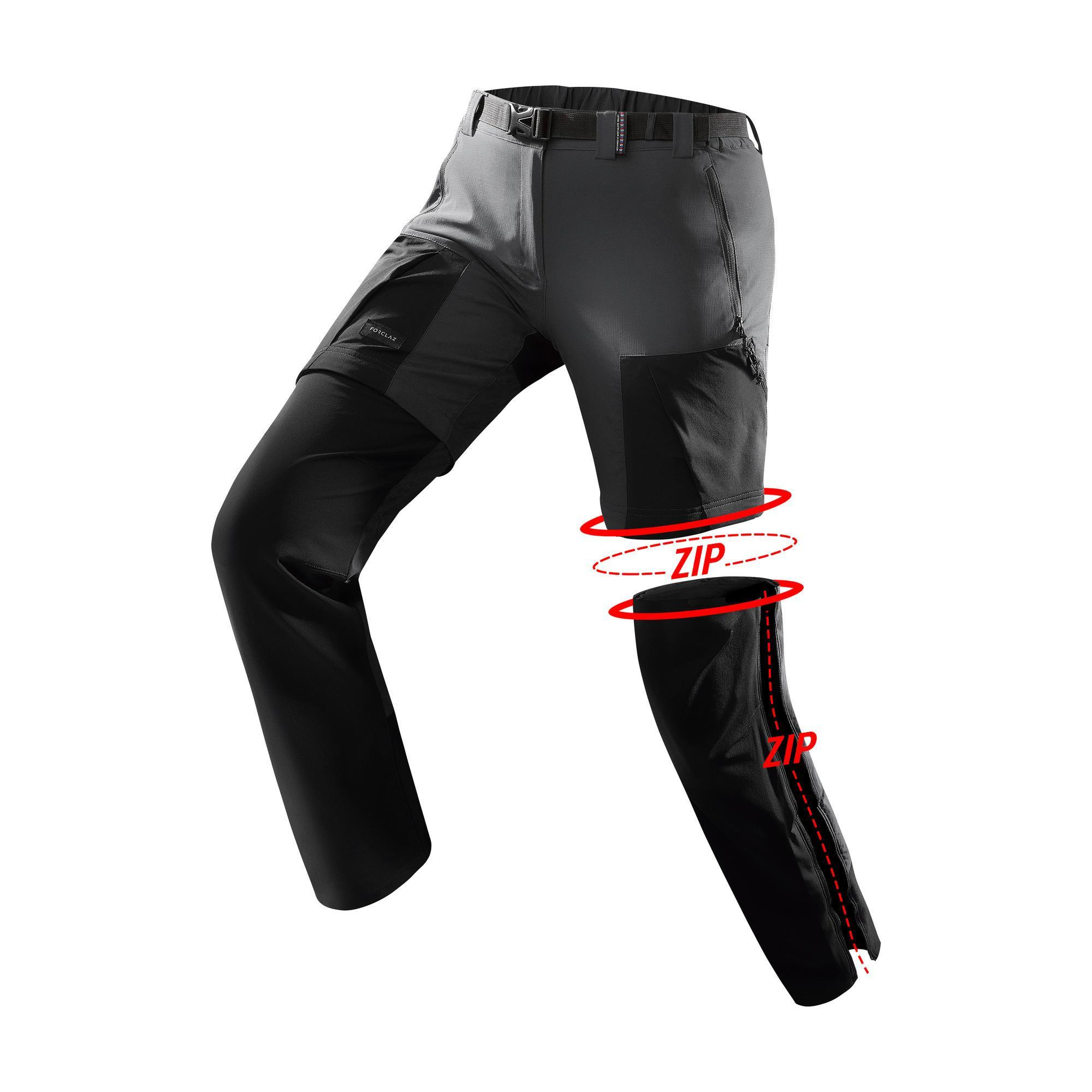 Zip-off-Trekkinghose Trek 500 Damen dunkelgrau | Sportbekleidung > Sporthosen > Trekkinghosen | Grau - Schwarz | La | Forclaz