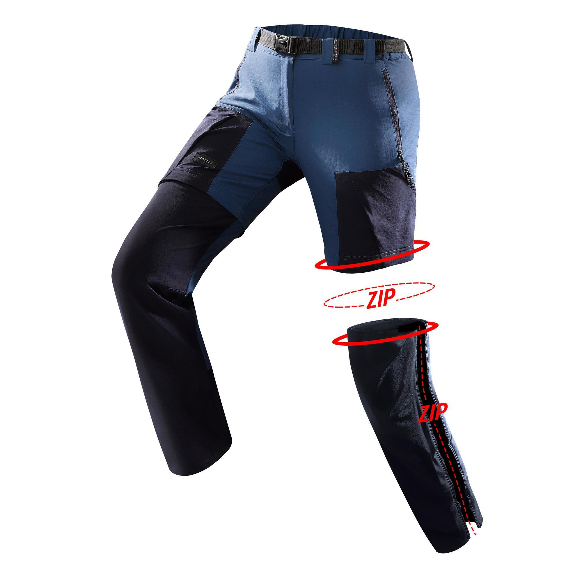 Pantalon modulable trekking montagne trek500 femme bleu forclaz
