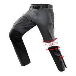 Men's TREK 500 mountain trekking convertible trousers - dark grey