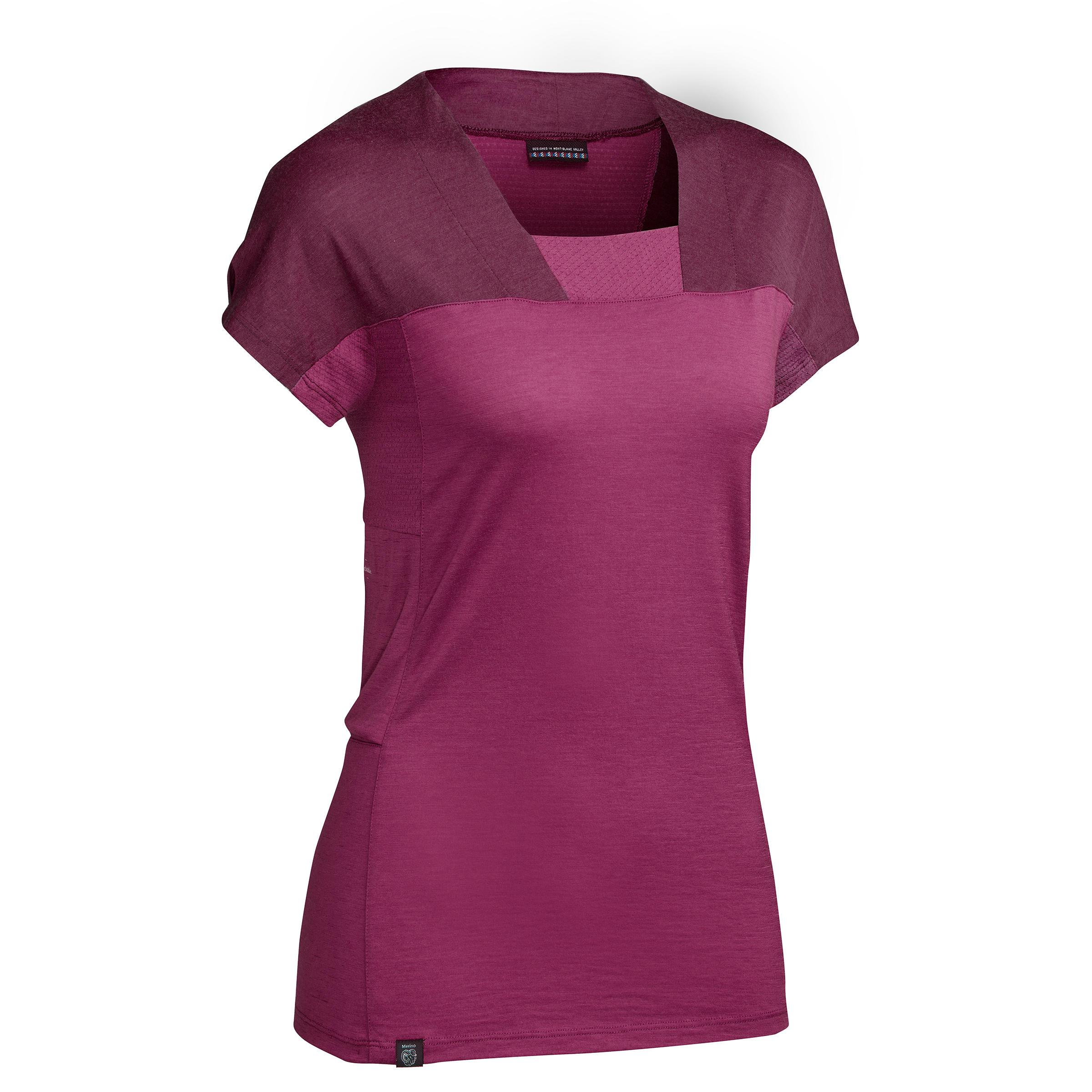 Forclaz Trekkingshirt met korte mouwen dames Trek 500 merinowol paars