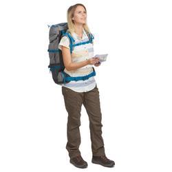 Chemise manches courtes trekking TRAVEL100 fresh femme rayée jaune
