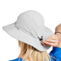 女款抗UV登山健行帽Trek 500-淺灰色
