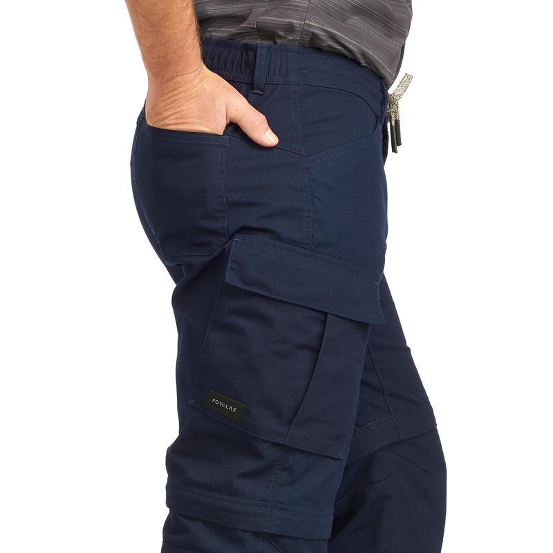 Pantalon Transformable Trekking Travel100 Hombre Azul Marino
