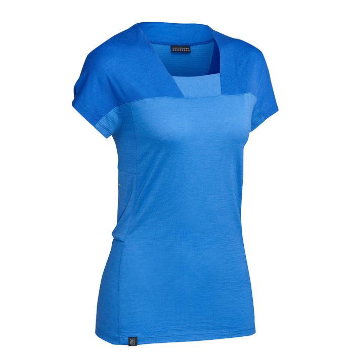 T-shirt mérinos trekking montagne TREK500 manches courtes femme bleu