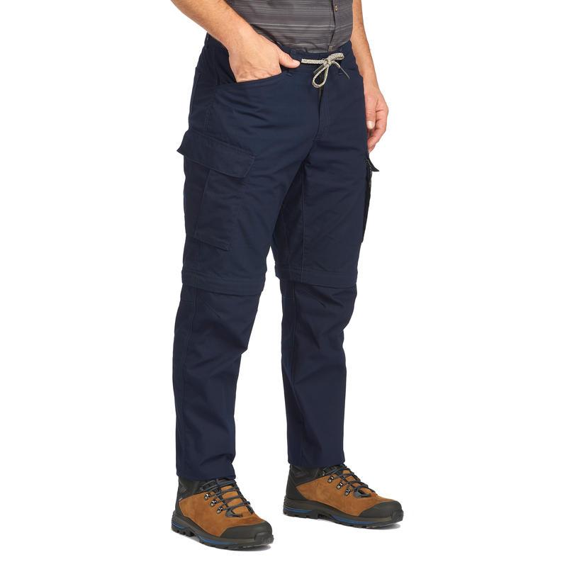 Men's Zip-Off Travel Trousers TRAVEL100 - Navy Blue