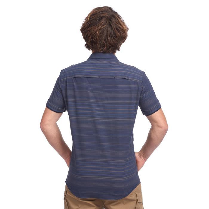 Overhemd met korte mouwen voor heren Travel 100 Fresh gestreept blauw