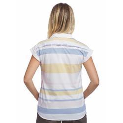 Camisa manga corta trekking TRAVEL 100 fresh mujer a rayas amarillo