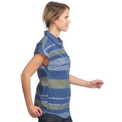 Chemise manches courtes trekking TRAVEL100 fresh femme rayée bleu
