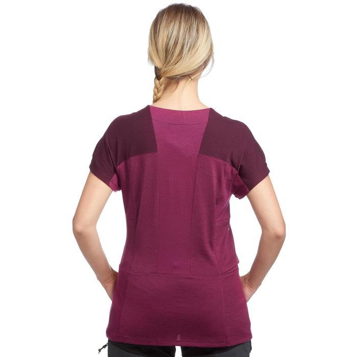 Tee-shirt mérinos de trek montagne - TREK 500 violet femme
