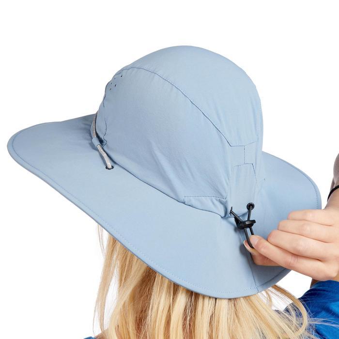 女款抗UV登山健行帽Trek 500-藍色