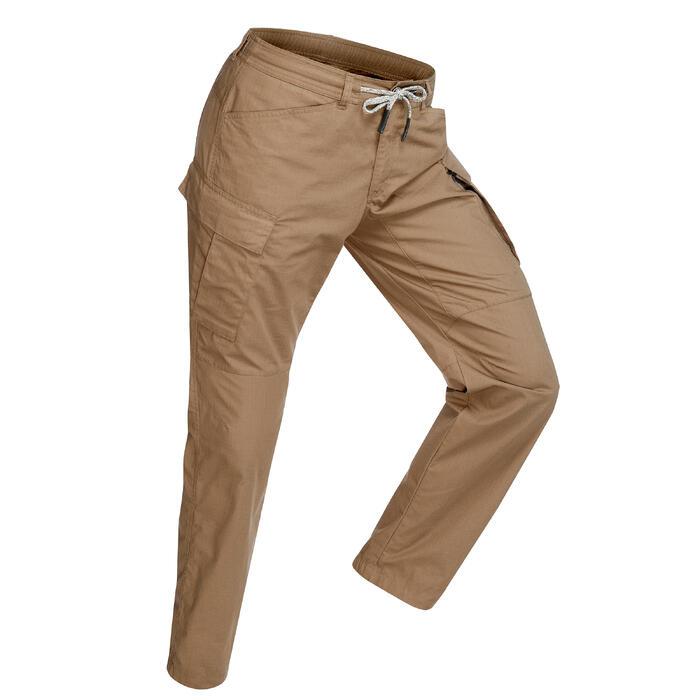 Pantalon trekking TRAVEL100 homme camel