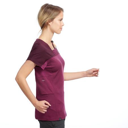 Women's Mountain Trekking Merino T-shirt Trek 500 - Purple