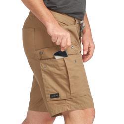 男款健行短褲Travel 100-駝色