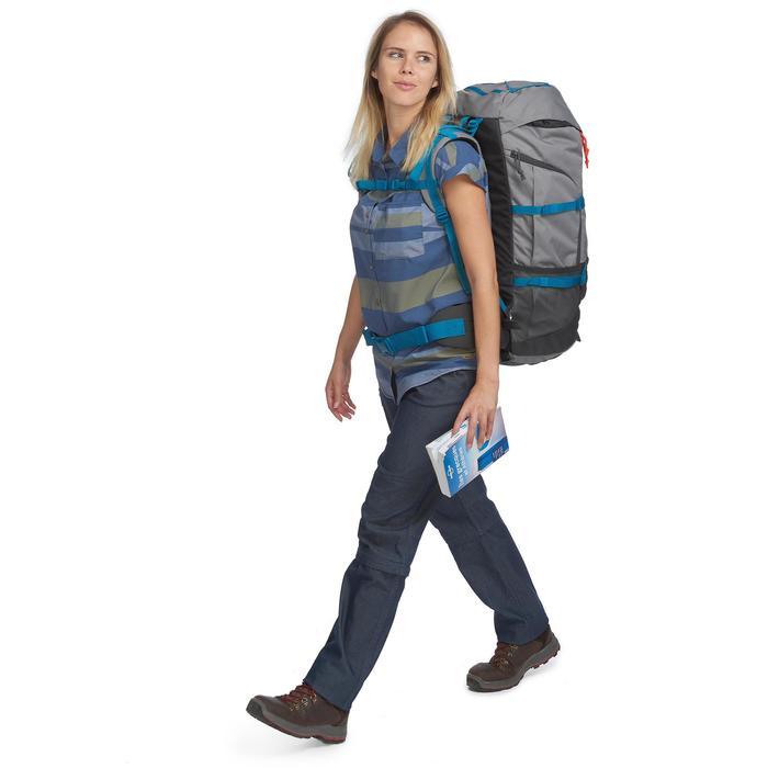 Trekkingblouse met korte mouwen Travel 100 fresh dames blauw gestreept
